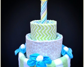First Birthday Diaper Cake with Washcloth Candle
