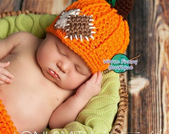 Pumpkin Patch Hat - Crochet Baby Newborn NB Girl Boy Costume Halloween Preemie Christmas Thanksgiving Photo Prop Winter Outfit