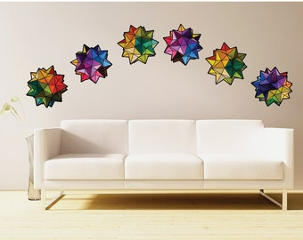 Geometric origami rainbow stars- set of six-  fabric wall decal