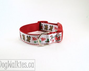 "Santa & The Reindeer Red Christmas Dog Collar / 1"" (25mm)wide / Choice of style and size - Martingale Dog Collars or Quick Release Buckle"