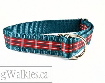 "Macfie Tartan Dog Collar - 1"" (25mm) Wide - Red and Forest Green Plaid - Martingale or Side Release - Choice of collar style, color and size"