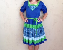 hand sewn praire dress w/ microfloral accents, puff sleeves, & full skirt