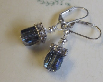 Faceted Steel Blue Swarovski Cube Crystal Silver Plated Leverback Earrings Free US Shipping Gift Box