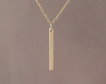 Gold Fill Skinny Vertical Bar Necklace also in Silver and Rose Gold