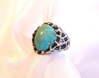 Vintage Turquoise Ring: OOAK Sterling Silver Ring - Size 6 - B2007