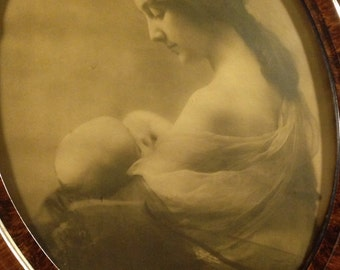 Antique Mother and Baby Photograph in Oval Frame , New Mother Photo, Antique Photo,Sepia Toned Photograph, Mother's Day
