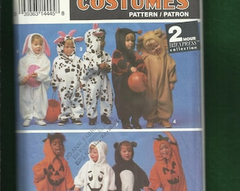 Simplicity 8582 Fun Costumes for Little Kids Bunny Cow Lion Ghost and More Size 1/2 to 4