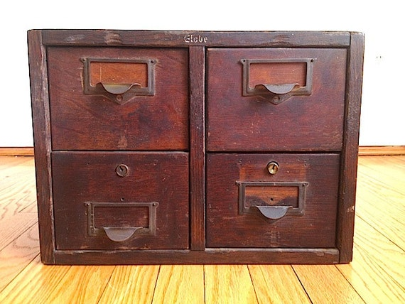 Antique Globe Four Drawer Card Catalogue By Thenewtonlabel On Etsy