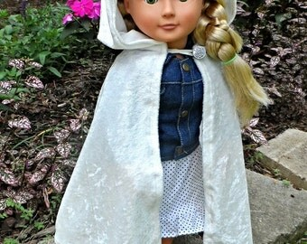 """Snow White / Queen / Once Upon a Time / Frozen Inspired Cloak Cape for American Girl 18"""" Doll Velvet- Princess Bride Elf Hobbit- Ready To Go"""