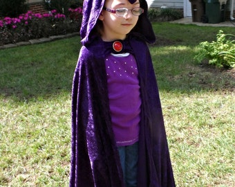 "Raven Teen Titans inspired Cloak Length choices from 27-48"" Purple or Navy Blue- Princess Magician Witch Wizard Cosplay Super Hero Comic"