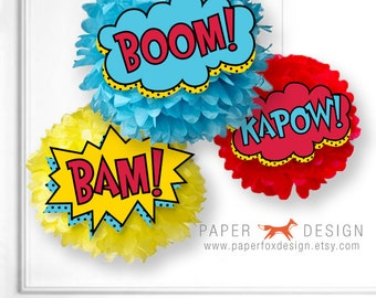 Superhero Birthday Pom Pom Printable - Superhero Word Burst