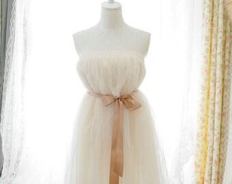 Sweetheart fairytale ballerina beige ivory cream  tutu tulle puff skirt dress 2-way champagne sash reception dainty dreamy