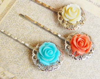 Floral pretty - Pair of rose silver filigree bobby hairpins, bridesmaid gifts, something blue, wedding jewelry, hair accessories