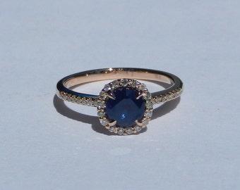 Natural Ceylon 1.28 Carat Sapphire & Diamond Engagement Ring 14kt Rose Gold
