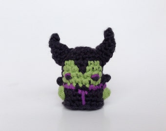 "Disneys Maleficent Crocheted Amigurumi Kawaii Keychain Miniature Doll ""Pod People"""