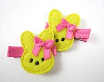 Easter Bunny Yellow Hair Clips - Easter Hair Clip - Felt Hair Clip -  Yellow Hair Clip - Hair Clip Set - Pigtails - Feltie Clip - Hair Clips