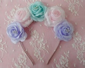 Pastel Dream flower crown- pastel pink, aqua, and purple roses