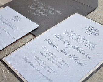 Wedding Invitation - Monogram - Traditional - Grey and Blush