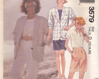 Jacket, Top, Skirt, Pants & Shorts Pattern McCalls 3579 Sizes 12 14 16 Uncut