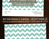 Custom Business Card Design Set- 2-Sided Modern Chevron DIY Template Business Card Set - mdc Clean Minimalist Simple Classic Geometric mdc