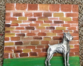 Brooch Art - Boxer Dog - Mini Canvas Art  - For Dog lovers - Walk the dog - Original Dog brooch