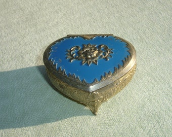 Patina Vintage Heart Shaped Metal Trinket Box - Rose on Top