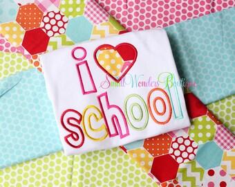 Back To School Embroidered Shirt - I Love School Shirt - Back To School - School Shirts - I Heart School - Kindergarten - PreK - 1st Grade