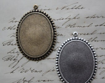3 x Cameo setting - 30x40mm cameo cabochon - choose silver or brass