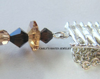silver chain necklace with topaz and black Swarovski crystals, handmade, gifts for women, ready to ship, gifts under 30