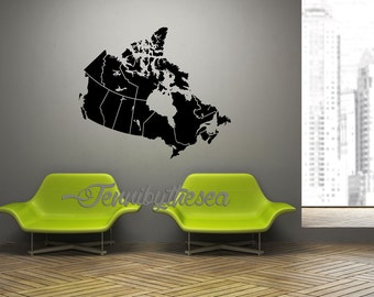 Giant Map of Canada wall art decal Canadiana home decor