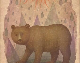 Brown bear - A4 art print