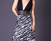 SALE 50% OFF 80s Vintage Tiger Stripe Wrap Skirt in Black & White