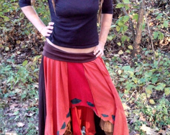 SALE-Long Patchwork Asymmetrical Skirt With Leaf Applique