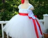 Sewn Flower Girl Tutu Dress Empire Waist Babydoll Style in White and Red with Satin Flower and Lace and Satin Sash CUSTOMIZABLE