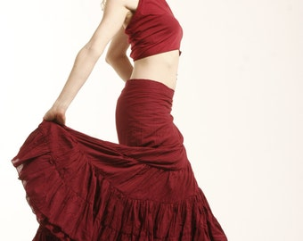 FLAMENCO SKIRT, wrap Skirt, GYPSIE skirt, long skirt, CVskfl