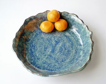Large Ceramic Serving Bowl, Ceramic Bowl, Handmade Pottery Bowl. Glazed in Blue Lagoon.