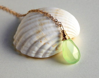 Apple lime green chalcedony wire wrapped briolette pendant necklace sterling silver or gold filled