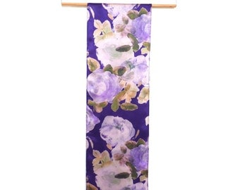 Floral Hand Painted Silk Scarf. Lilac Rose Print. Lilac. Blue. Purple. Summer Floral. Ladies gift. Luxury scarf. Painterly. Summer Scarf