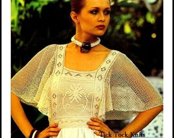 No.310 1970's Crochet Pattern Vintage PDF - Women's Fly-Away Sleeve Blouse - Retro Crochet Pattern