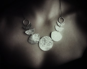 Many Moons- Moon Phase Necklace- Hammered Metal Moon Bib Necklace- Moon Jewelry