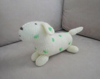 Polka Dot Dog, Yellow & Green, Stuffed Plush Softie Animal, Baby - Kid, Hand Knit Puppy Dog