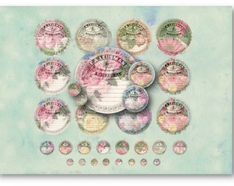 Digital Collage Sheet Download - Floral Apothecary Labels 1/2, 1 & 2.5 inch Circles -  729 - Instant Download Printables