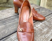 Boho Brown Pumps with Wooden Heels, Fabulous Vintage Shoes, US size 7