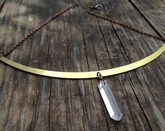 handcrafted large raw brass collar,  quartz crystal point center dangle, copper chain choker.
