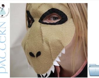 Felt T-rex dinosaur mask pattern.  INSTANT DOWNLOAD sewing pattern for dinosaur mask kids costume PDF.