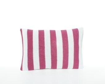 Stripy grey and burgundy crochet cushion/pillow