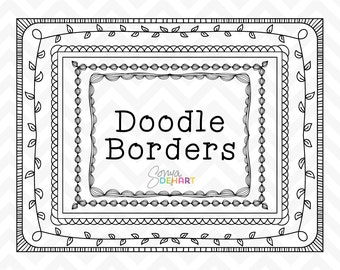 60% OFF SALE Clipart Hand Drawn Doodle Borders and Frames  Clip Art