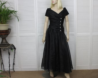 Vintage Black Organza Gown Size 10 by Watters and Watters