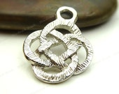 Bulk 18 Celtic Knot Etched Pendants or Charms Silver Tone Metal - 24x18mm - Jewelry Supplies, Wholesale - BB19