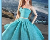 Aqua 2-Piece Dress for your Iplehouse SID and EID Girls, and Other Similar Sized Dolls .. OOAK